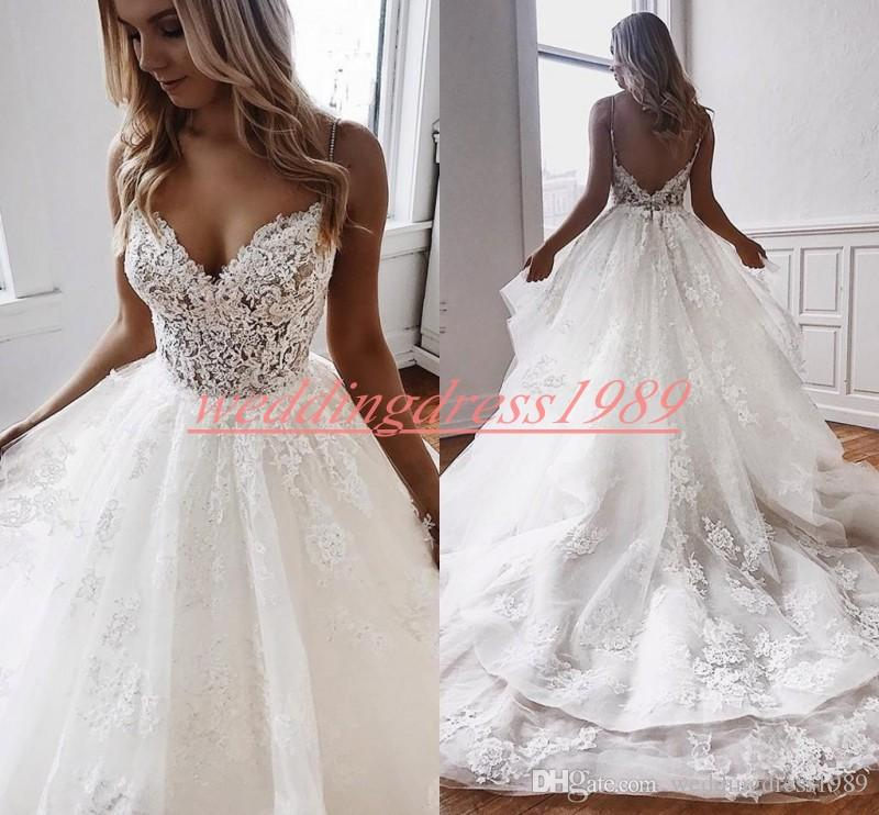 Stunning Spaghetti Lace Wedding Dresses Applique Church 2020 Plus Size African Bridal Ball Gown robe de mariée Bride Dress Train Country