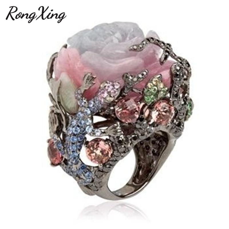 f7c12c52ffb RongXing Unique Rose Flower Moonstone Rings for Women Vintage Fashion Black  Gold Filled Birthstone Ring Female Boho Jewelry Gift