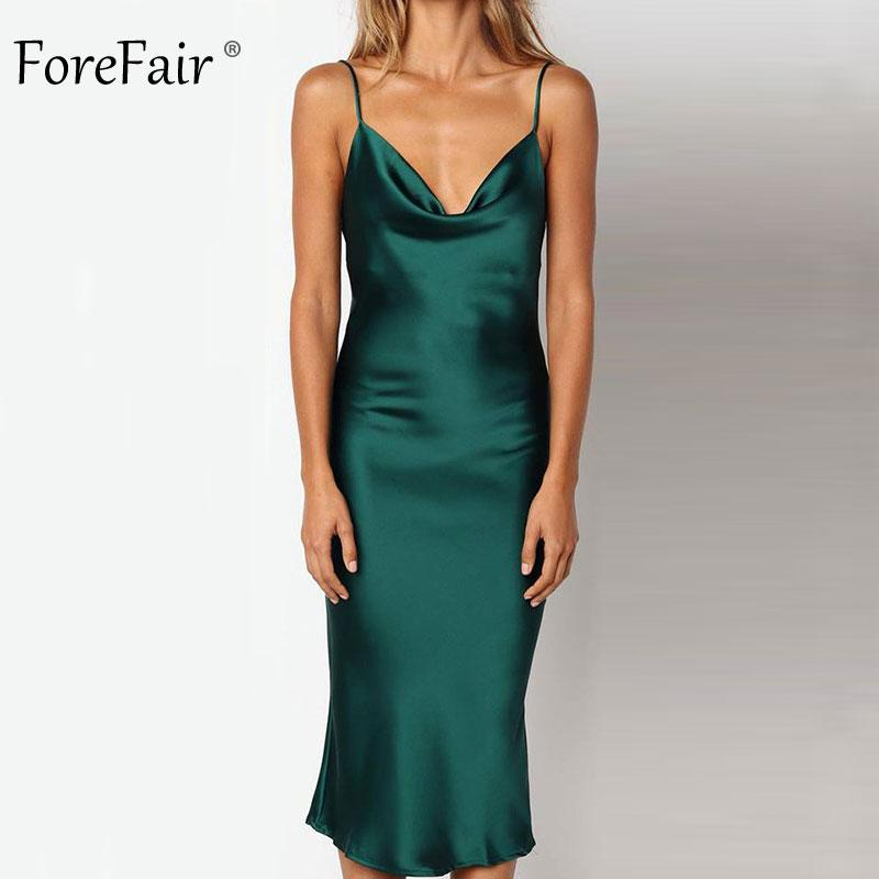 Forefair Summer Satin Dress Women Long Sexy Spaghetti Strap Green Pink Backless Midi Party Night Club Silk Slip Dress 2018