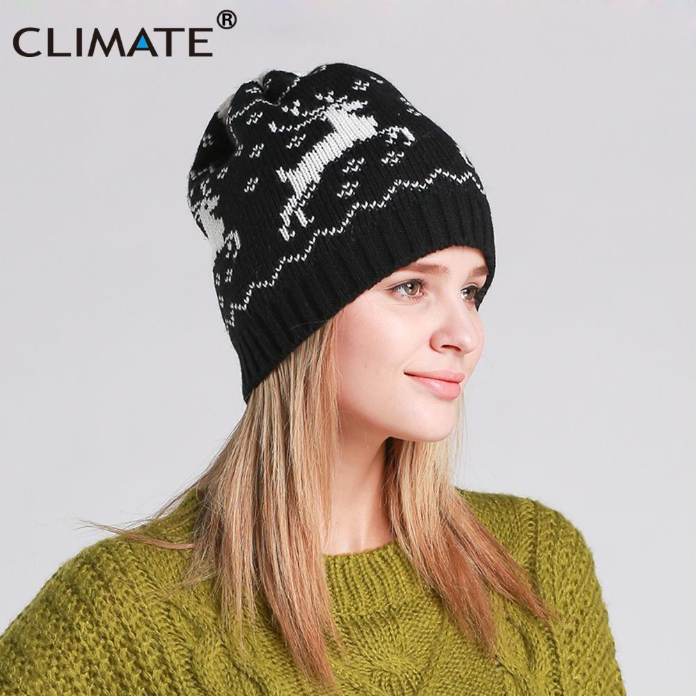ca47cb78549 CLIMATE Women Christmas Hat Winter Warm Beanie Christmas Deer Knitted Beanie  Women Black Deer Hat For Lady Girls Beanies For Girls Baby Hat From  Clintcapela ...