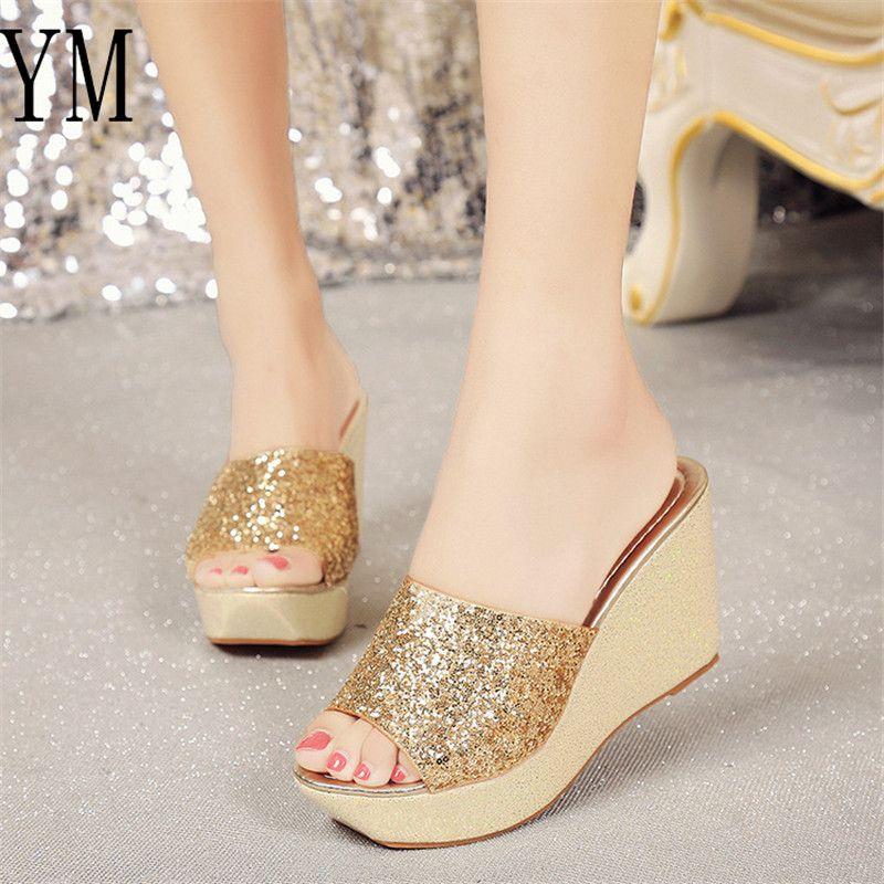 a1d16d3a97923 Compre Marca De Moda Bling Tacones Altos Sandalias Peep Toe Verano    Primavera Zapatos De Mujer Zapatos De Plataforma Cuña Sandalias De Mujer  Sólida ...