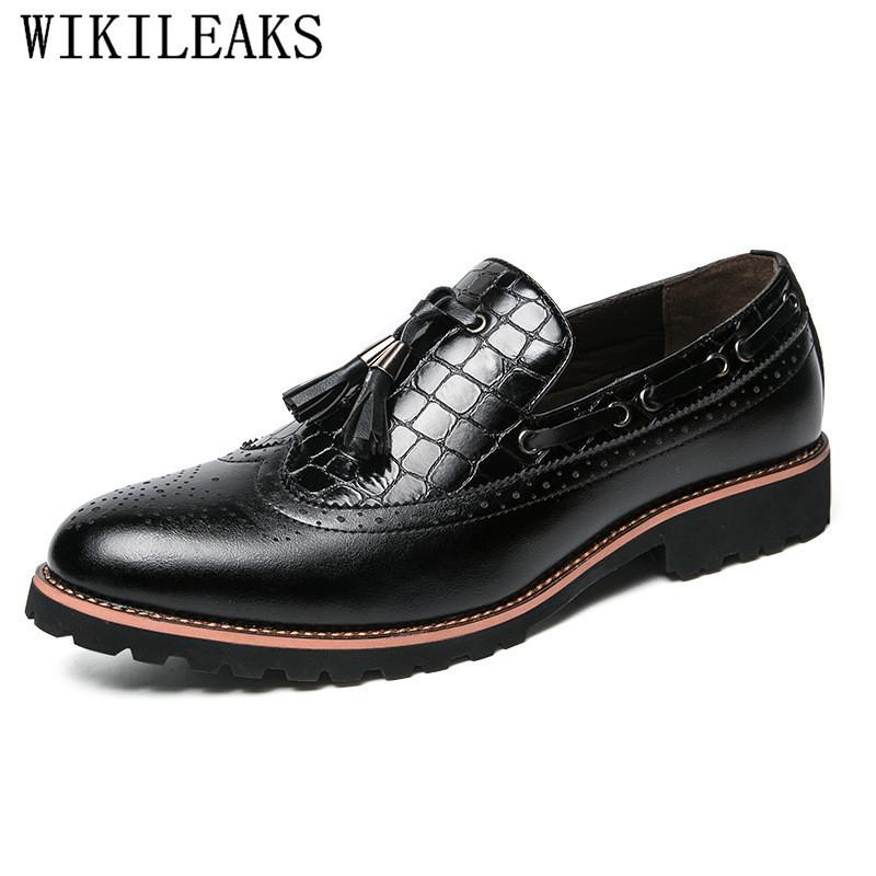 e07eae6fb8f1 2018 Luxury Brand Pointed Toe Mens Dress Shoes Leather Brogue Oxford Shoes  For Men Formal Mariage Wedding Shoes Tassels Loafers Online with   46.53 Pair on ...