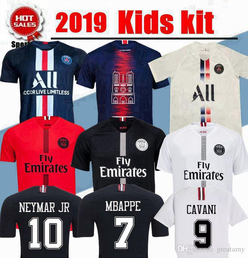 best authentic 8b2d0 e002e 2020 New kids kit PSG soccer jersey 2019 MBAPPE jerseys CAVANI VERRATTI  KIMPEMBE child 19 20 BUFFON boy youth football jerseys DANI ALVES