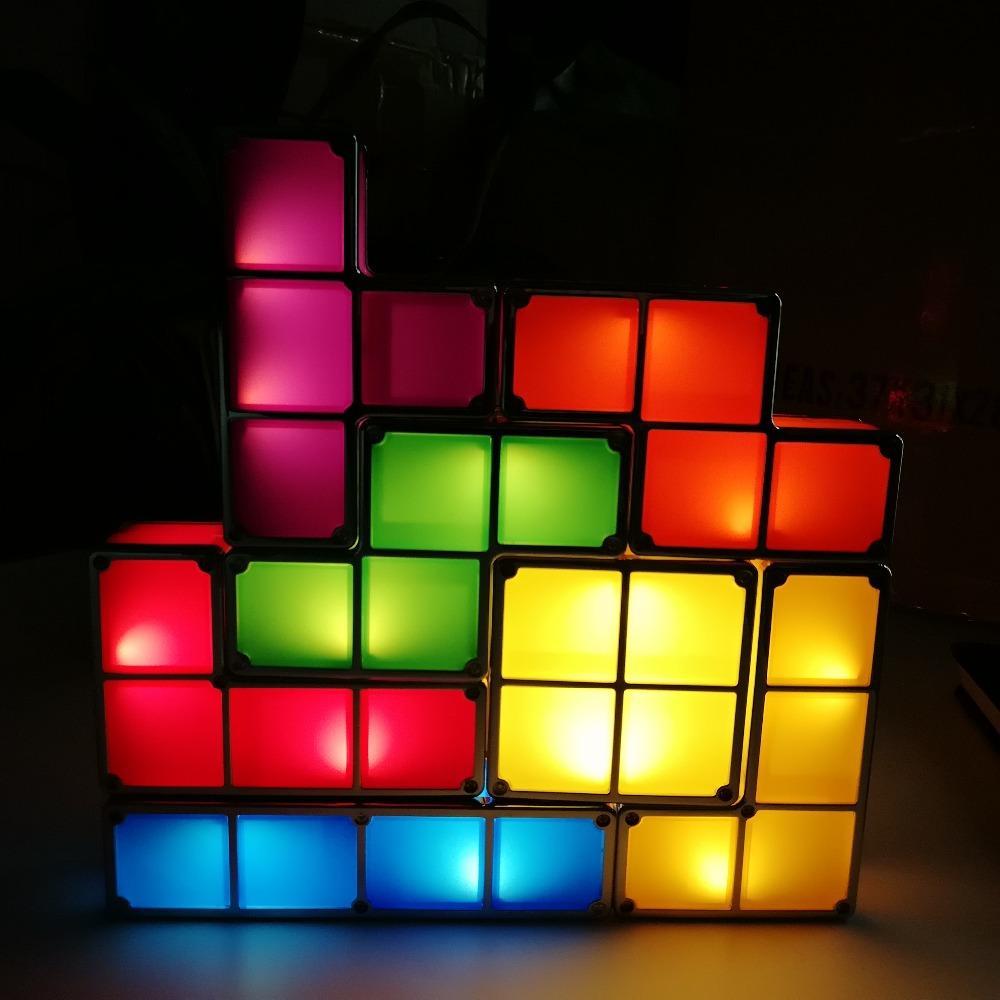Constructible Block Brick Toy Lamp Colorful Tetris Puzzle Night Baby Stackable Retro Led Light Desk SqzpMUV