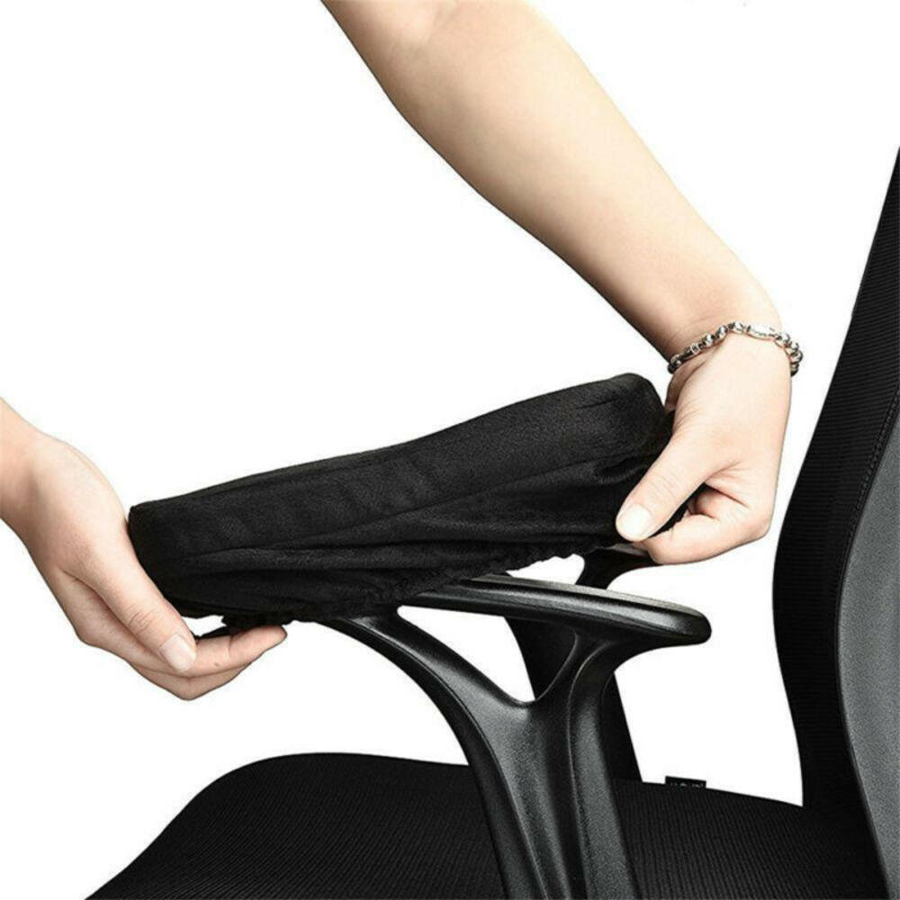1 Pair Gaming Chair Armrest Pad Soft Memory Foam Elbow Pillow Support For Most Chair Accession Solid Black Protect Set