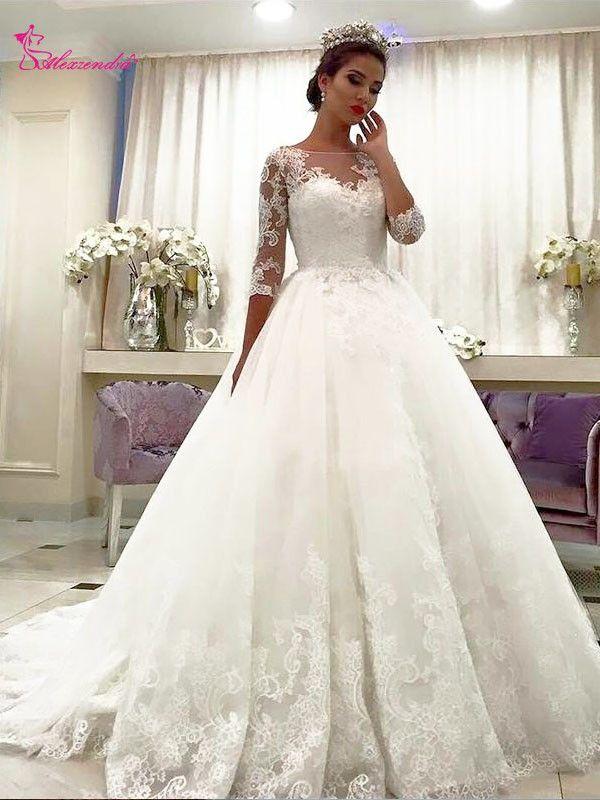 compre venta al por mayor vestidos de novia de encaje de la princesa