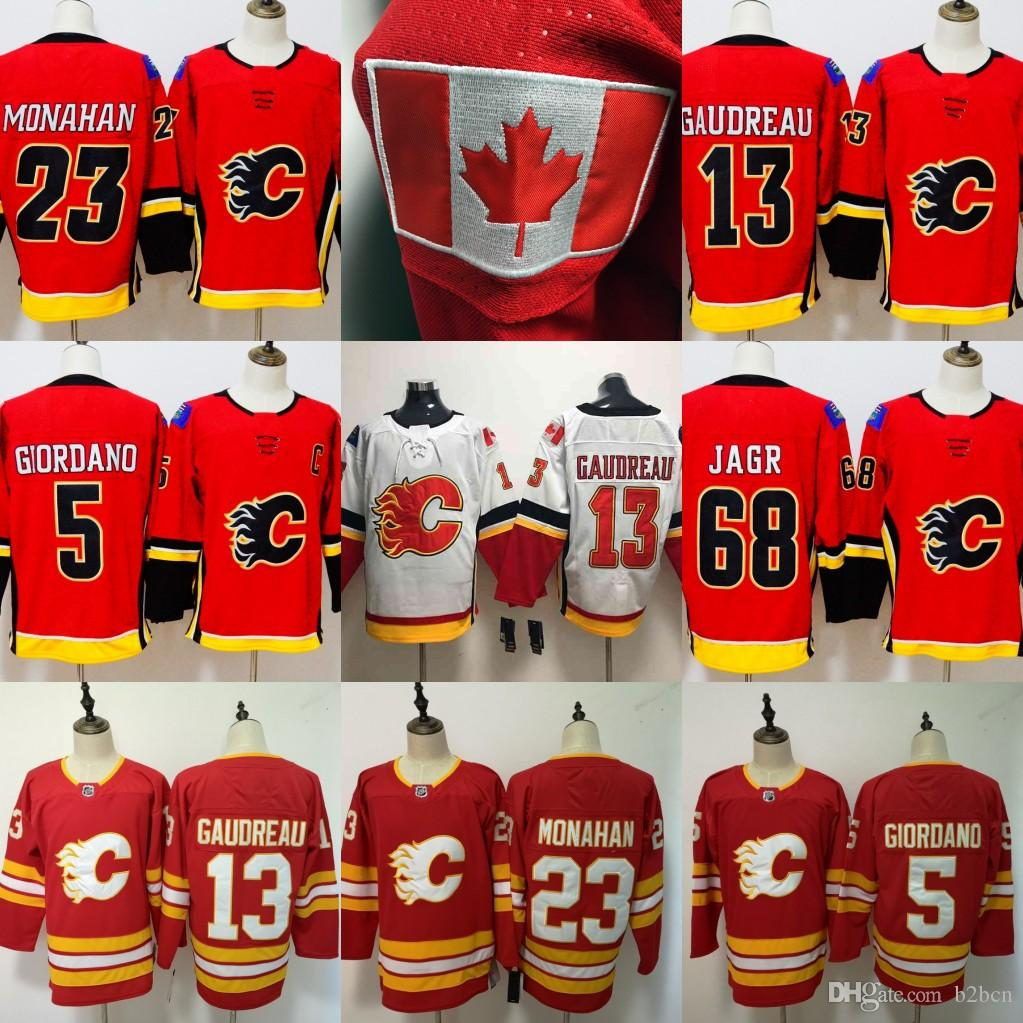 newest c106d c3808 Youth kids Calgary Flames Hockey Jerseys 13 Johnny Gaudreau 68 Jaromir Jagr  5 Mark Giordano 23 Sean Monahan Red White Stitched