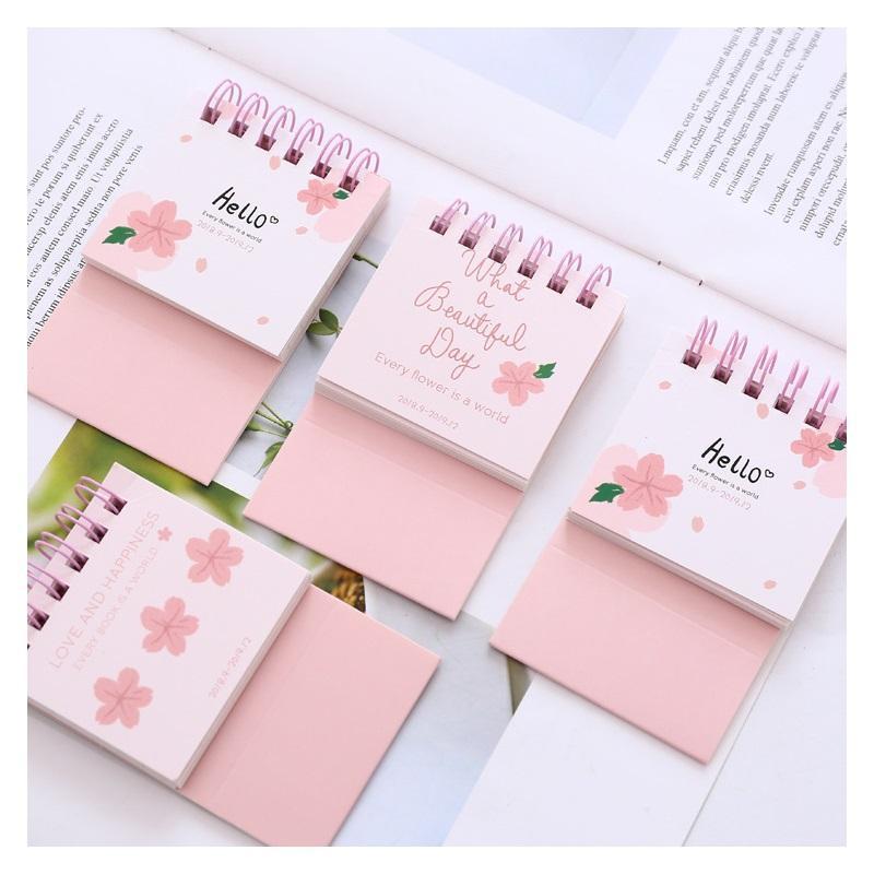 2019 Cute Cherry Blossoms Desk Calendar Diy Mini Portable Table