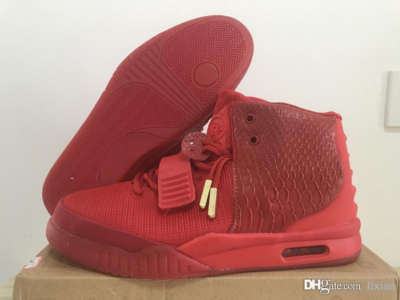 the best attitude de61c b7972 2018 New Hot Sale Designer Shoes Kanye West 2 Basketball Shoes for Mens  luxury Sports shoes Red October Training Sneakers Size 40-46