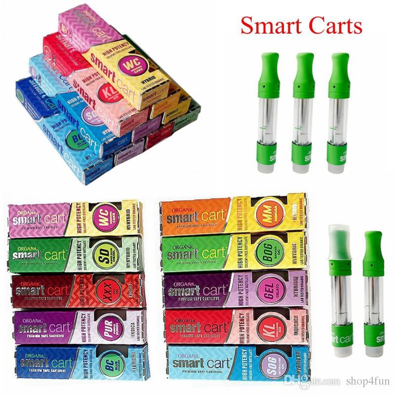 Newest Smartcarts 1ml Ceramic Vape Cartridges Packaging Dab Pen Wax  Vaporizer E Cigarettes Empty Vape Pen Cartridge Glass Thick Oil Tanks
