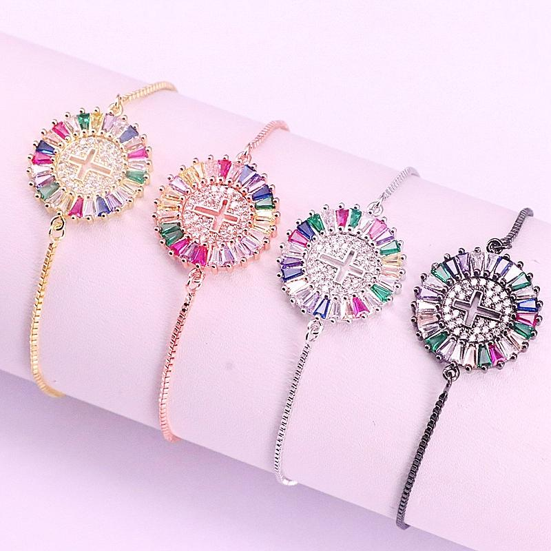10Pcs,Fashion Jewelry Crystal Zirconia Women Girls Bracelets Micro Pave CZ Cross Round Slide Chain Adjustable Bangles
