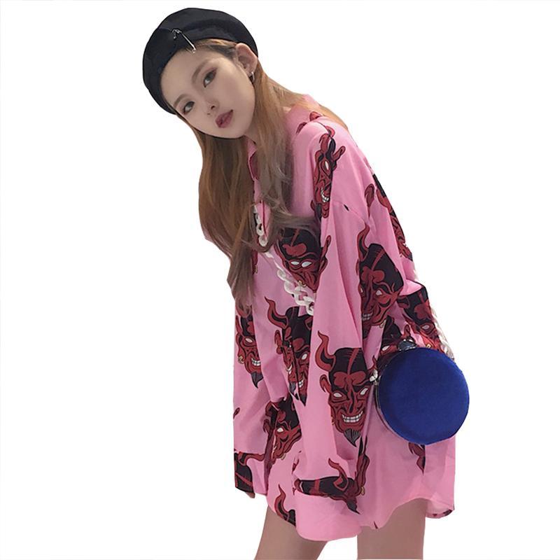 1ac425e298cb 2019 2019 Summer Sun Protection Shirt Temperament Cartoon Printed Loose  Long Sleeve Shirt Women Tops Fashion Streetwear From Yukime