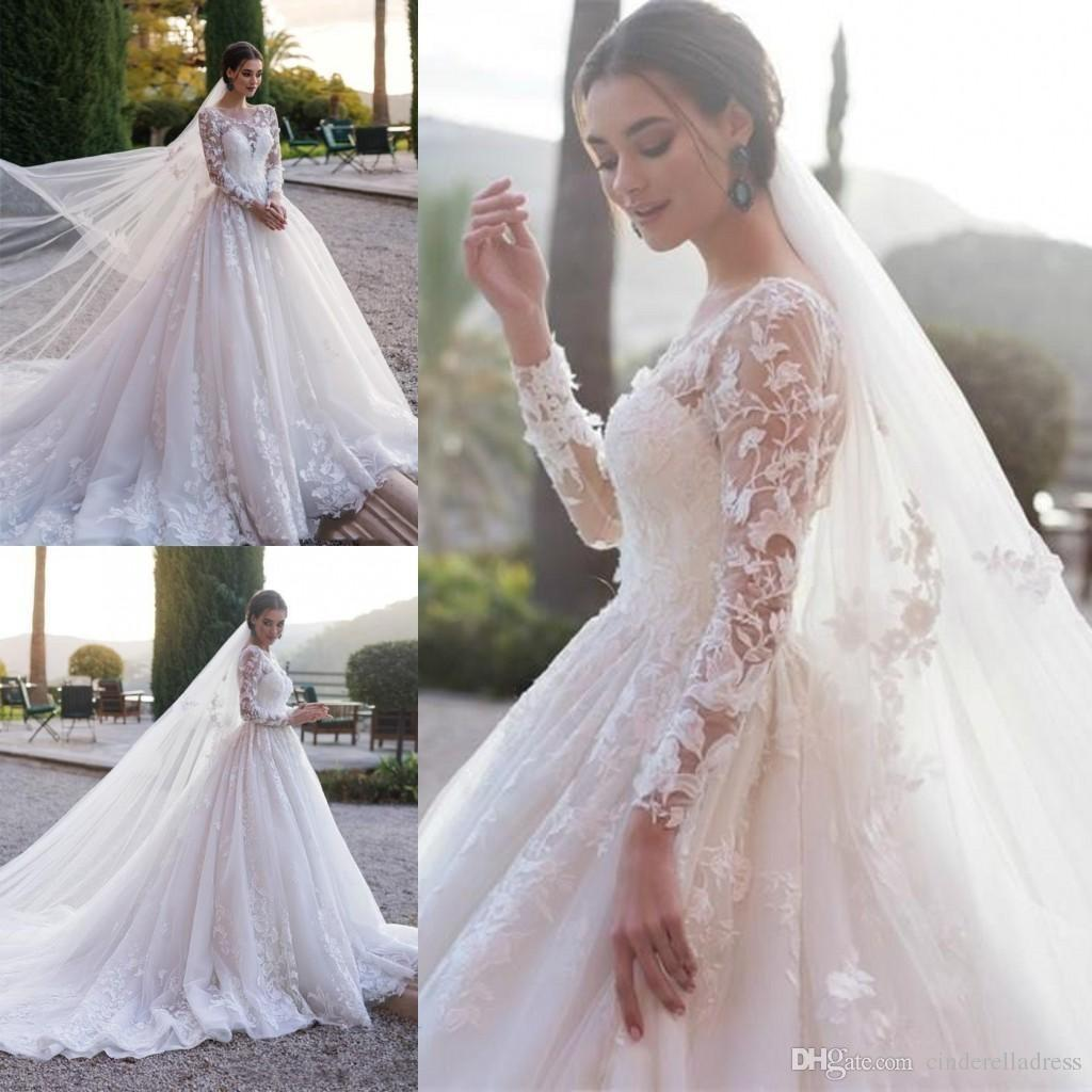 2020 Elegant Full Lace Long Sleeve Wedding Dresses Arabic Muslim A Line Sheer Neck Appliqued Ruched Long Formal Bridal Gowns Custom Made