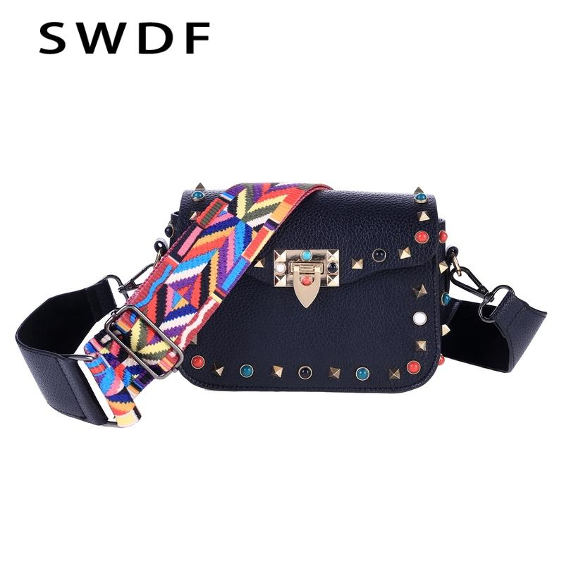 934e2253783 SWDF Luxury Women's Crossbody Bags Retro Woman Shoulder Bags Colorful Strap  Ladies Designer Rivet Flap SAC A Main Messenger Bags