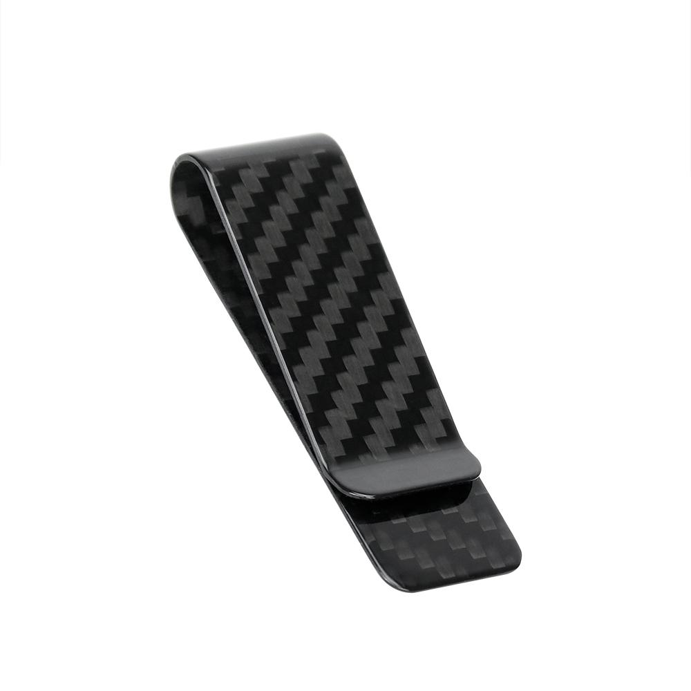 Monocarbon Minimalist Genuine Carbon Fiber Mini Money Clips Small Wallets with Black Carbon Fiber Patterns