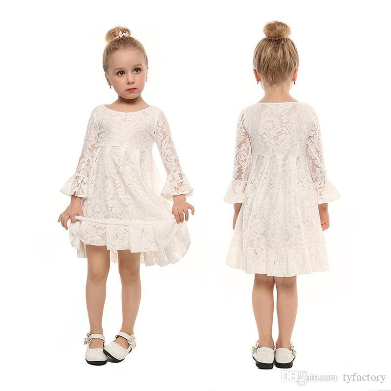 035abda4b6e6a Acheter Enfants Filles Mariage Dentelle Blanche Robe Baptême Robes Filles  Noir Floral Princesse Printemps Automne Bébé Fille Tutu Robes 3 12Y De   8.25 Du ...