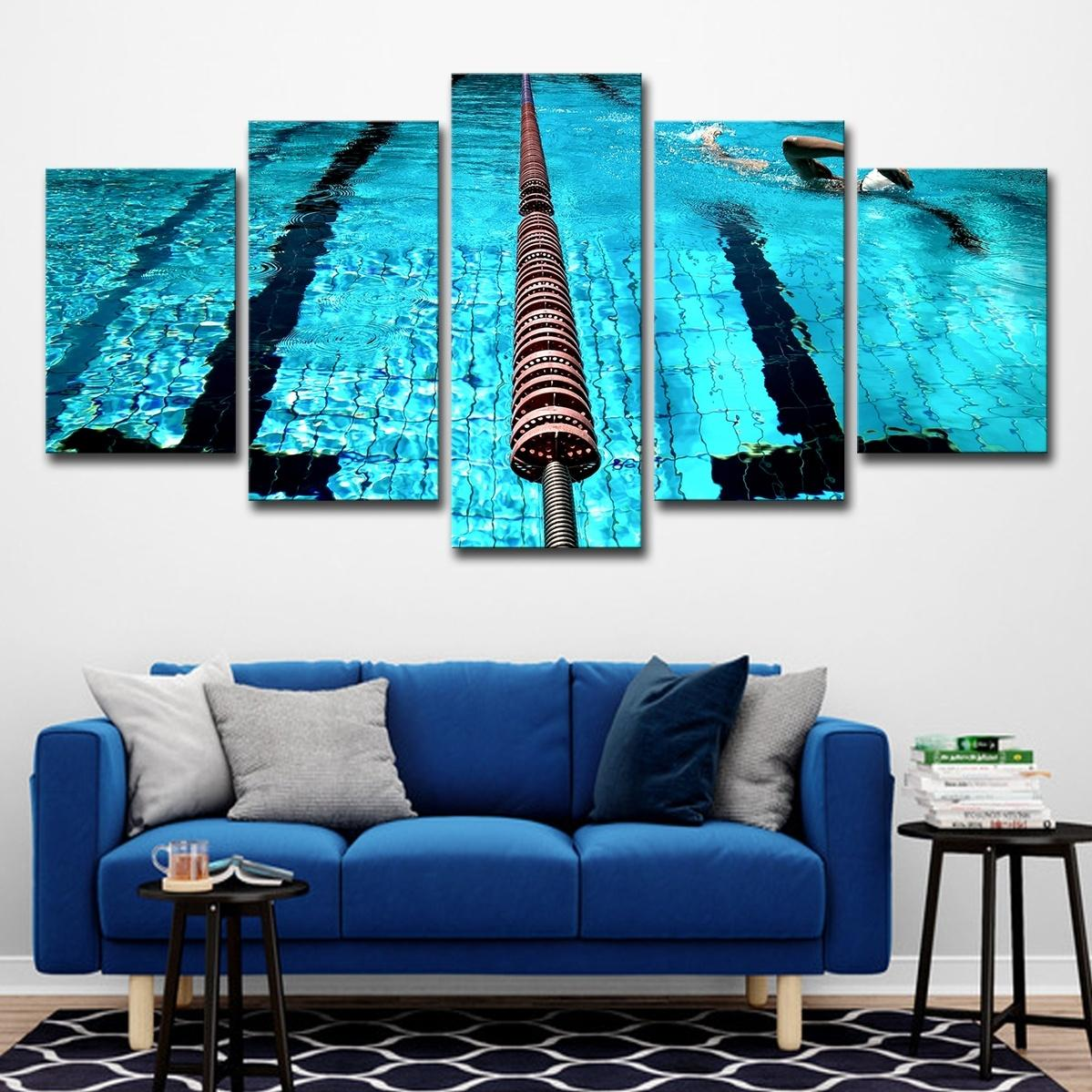 (Only Canvas No Frame) 5Pcs Blue Swimming Pool Landscape Oil Painting  Poster Wall Art HD Print Canvas Painting Fashion Hanging Pictures