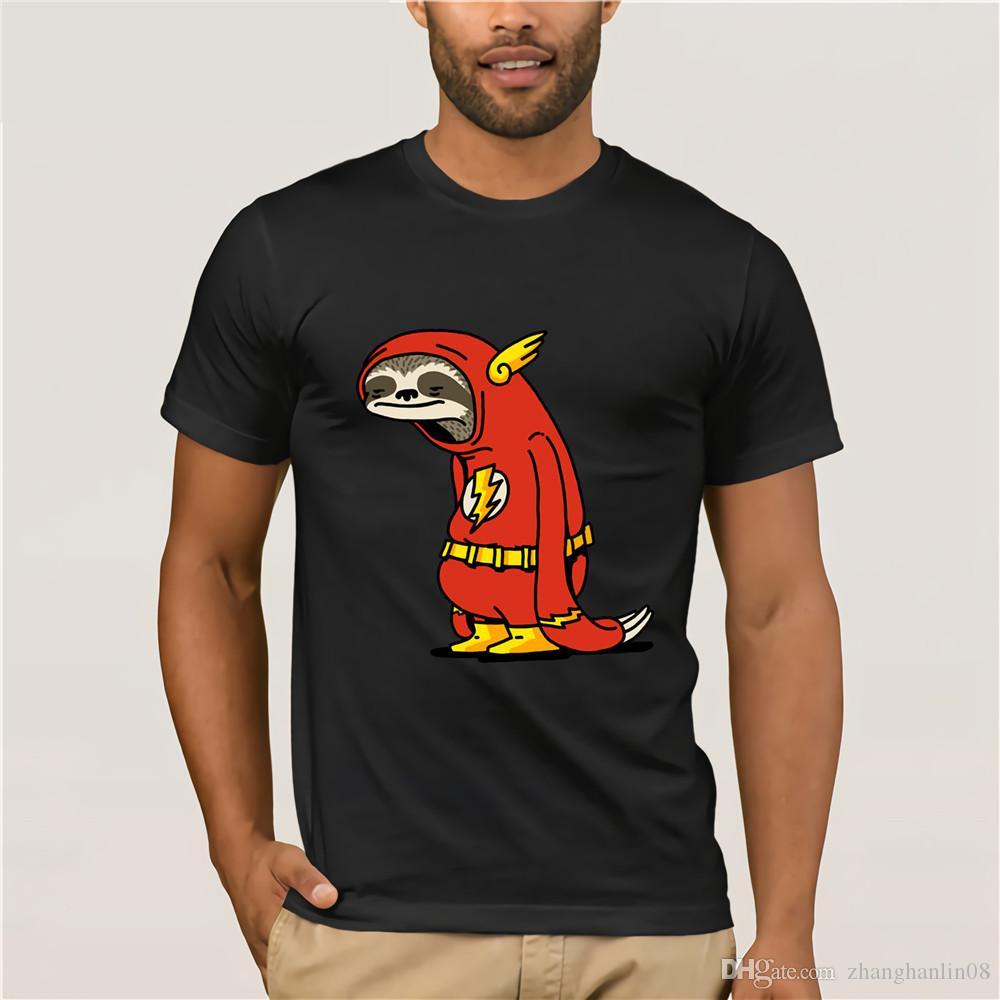 516de8e3 Funny Sloth The Flash T Shirts Men The Neutral T Shirt Male Super Hero Red  Sloth Tshirt Harajuku Tops 100% Cotton Tees Camisetas Cool T Shirts For Boys  ...