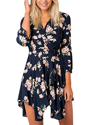 Simplee Apparel Women's Boho Floral Print V Neck Irregular Wrap Dress Beach Party