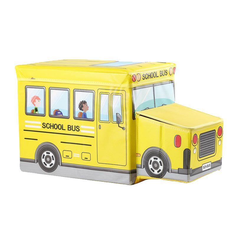 NEW Cartoon Bus Shape Toys Organizer For Kid Clothes Toy Storage Box Folding Cartoon Car Toy Storage Basket Children Bin