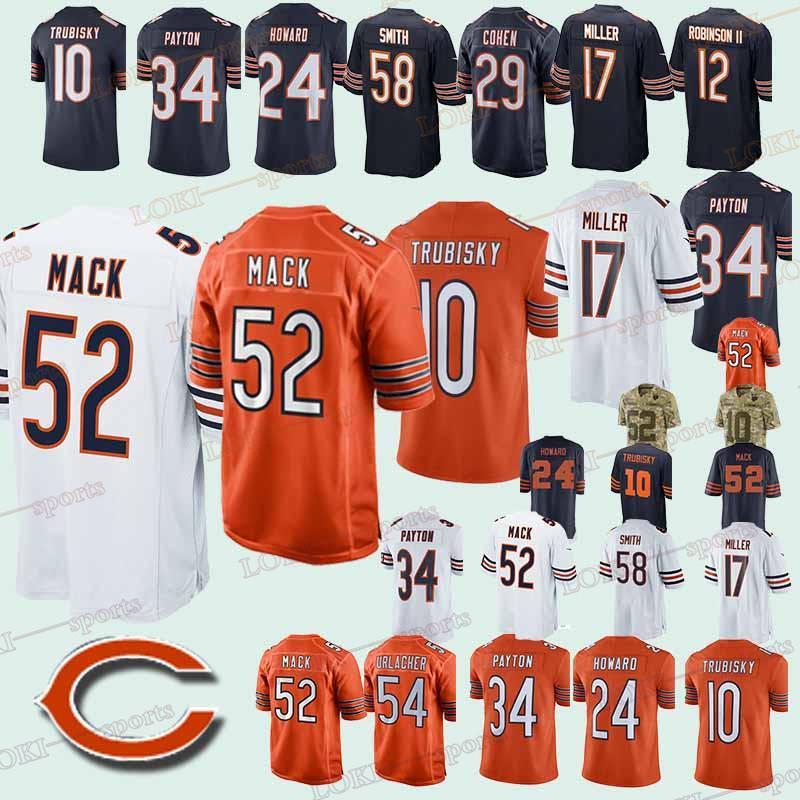 buy popular 72045 ffdf6 CHICAGO 33 BEARS jerseys 34 Walter Payton 24 Howard 52 Khalil Mack 39 EDDIE  JACKSON 2018-2019 new jerseys