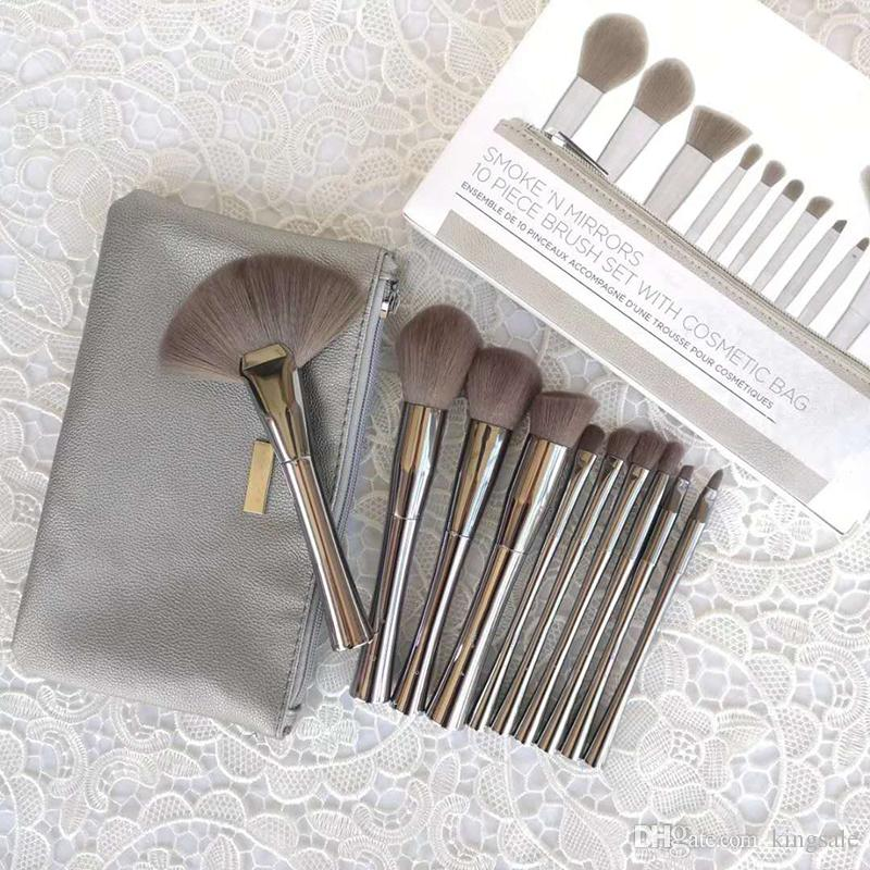 B Cosmetics SMOKE ' N MIRRORS 10 piece brush set with Cosmetic bag Professional Makeup Brushes Kits
