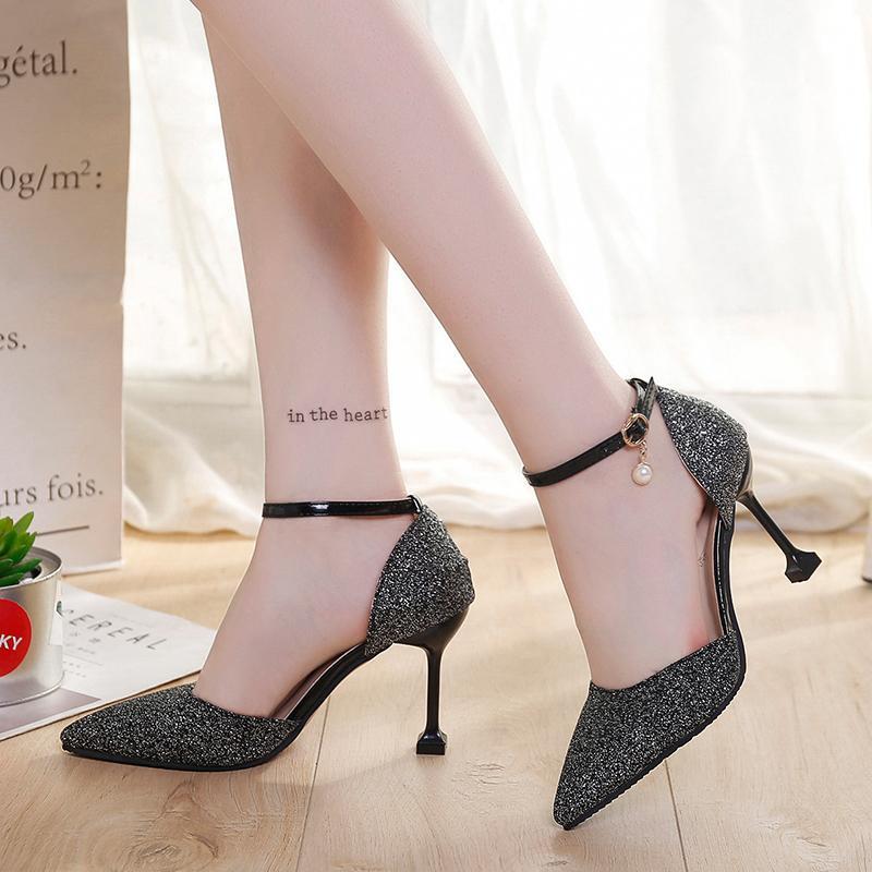 6352a8fdc4ddf Shoes 2019 Fashion Buckle Crystals Bling Pumps Women Elegant Thin ...