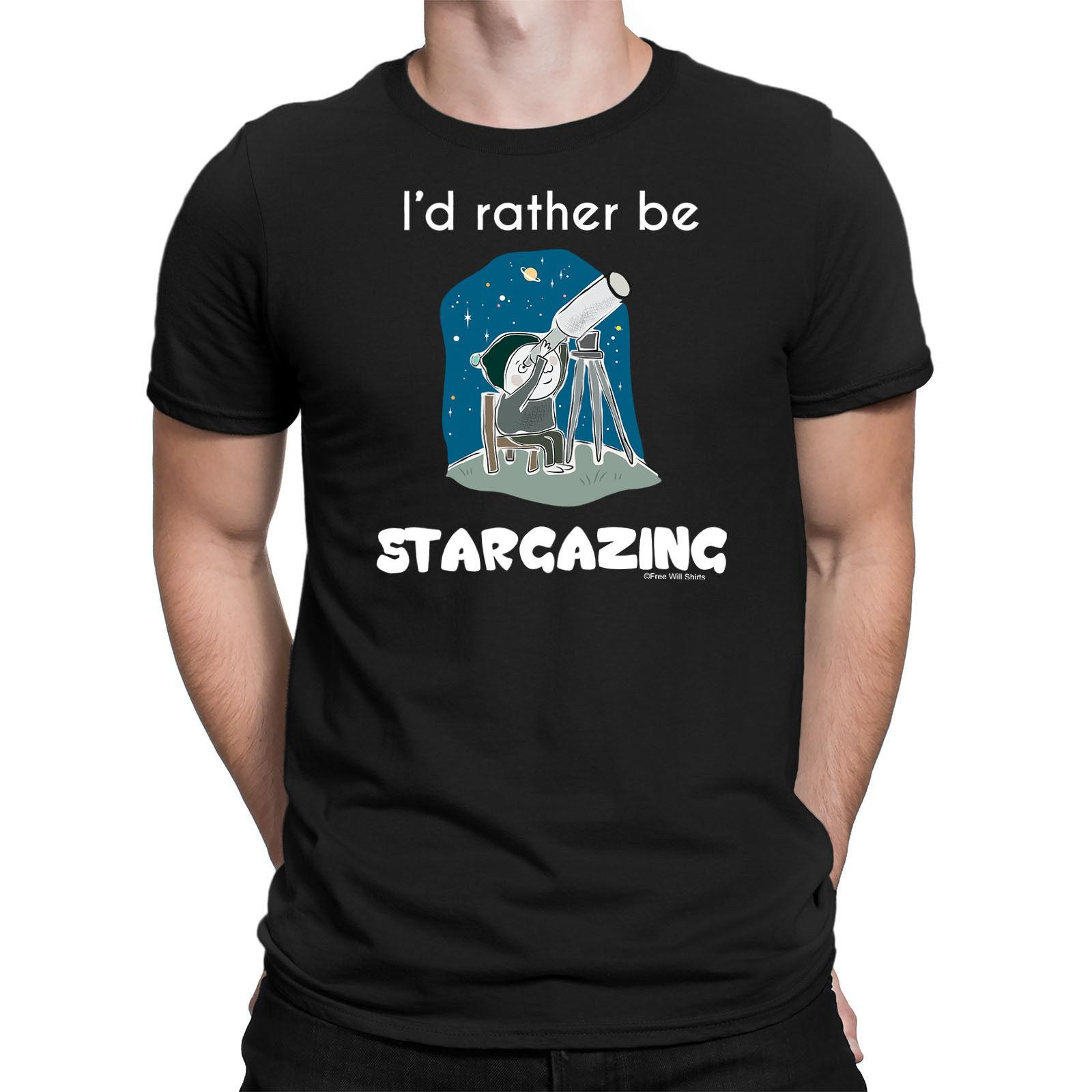 Mens T-Shirt ID RATHER BE STARGAZING Astronomy Telescope Planets Space Stars Top