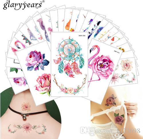 Glaryyears New Designs Flower Body Tattoo Temporary Waterproof