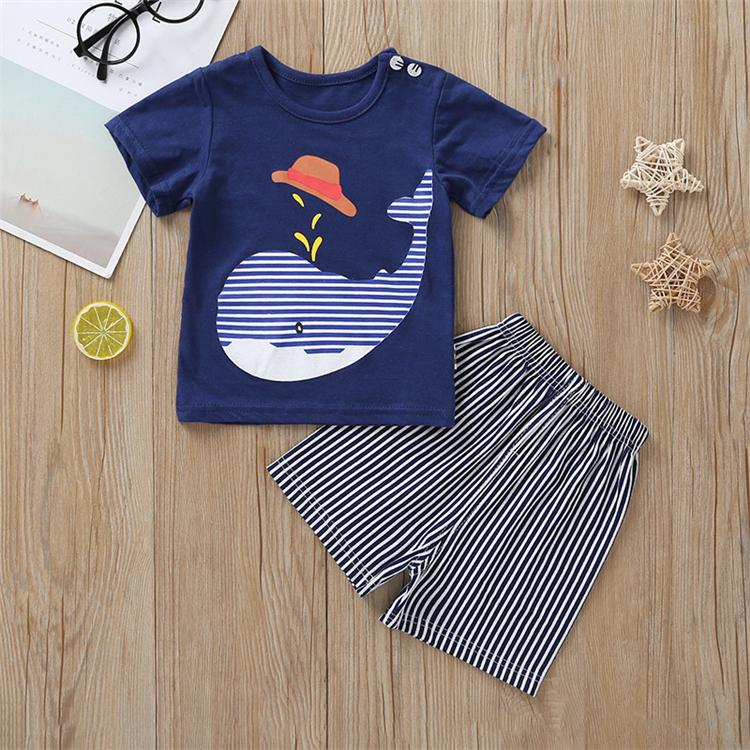 kids clothes sets Summer kids Cartoon Shark Printing short sleeve T-shirt+stripe Shorts Pants 2 pcs set kids designer clothes JY407