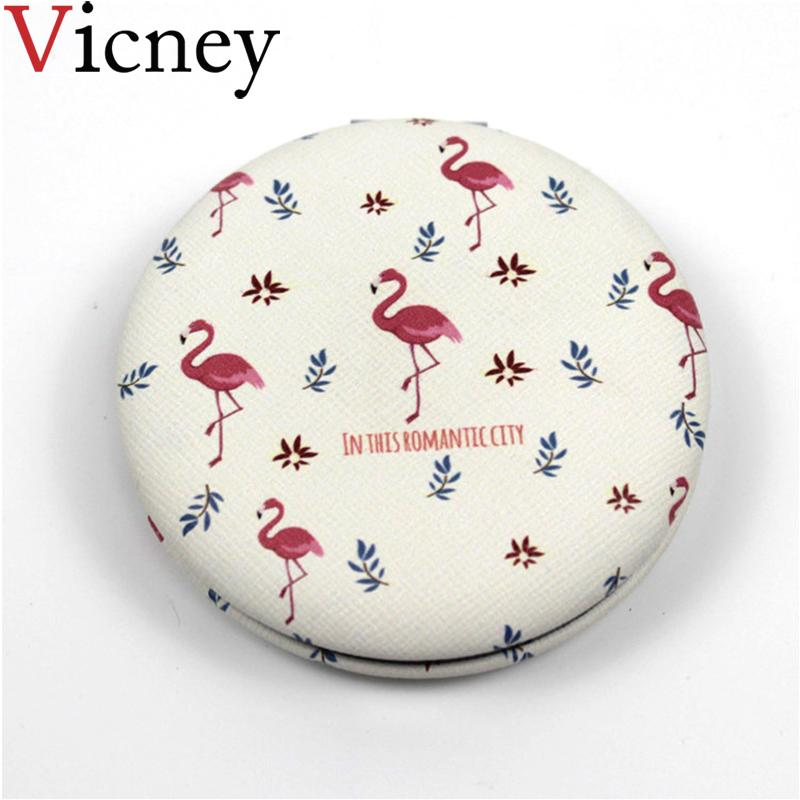 Vicney New Mini Pocket Cosmetic Mirror Fashion Flamingos Makeup Mirrors Compact Beauty Double-sided Mirror Magnifier