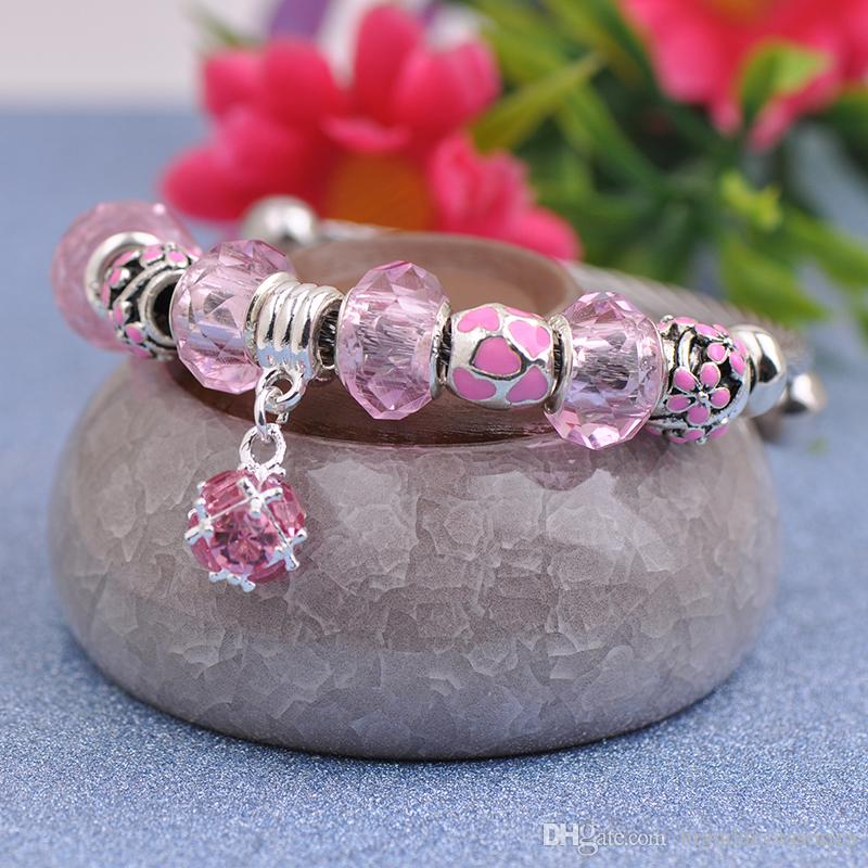Titanium Steel Wire Charms Bracelets Fit Pandora Women Faceted Murano Glass Beads Enamel Magnolia Bangle Pink Gemstone Pendant Jewelry P155