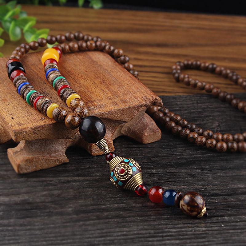 여성을위한 SEDmart 레트로 민족 나무 로터스 불상 동상 펜던트 목걸이 네팔 만트라 나무 / 유리 비즈 스웨터 체인 선물