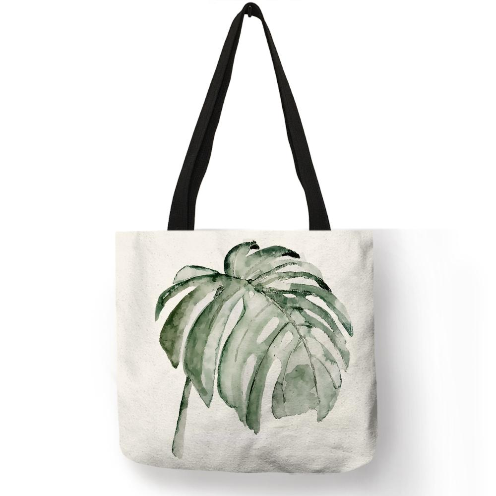 cf2710dac426 Fashion Women Handbag Tropical Green Banana Leaf Plant Forest Print Totes  Bag Eco Linen Shopping Working Practical Large Bags