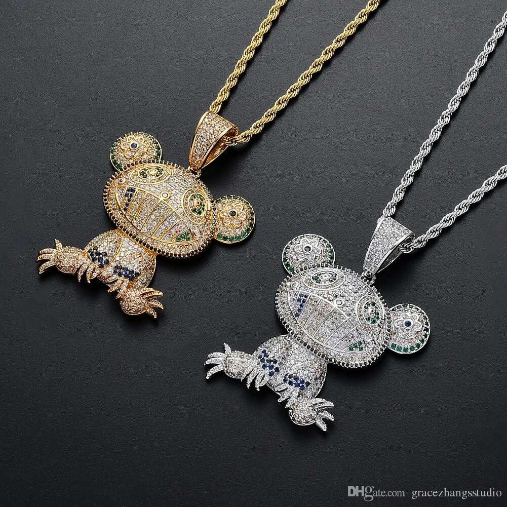 d6112e282779 Compre Hip Hop Rana Diamantes Collares Pendientes Para Hombres ...