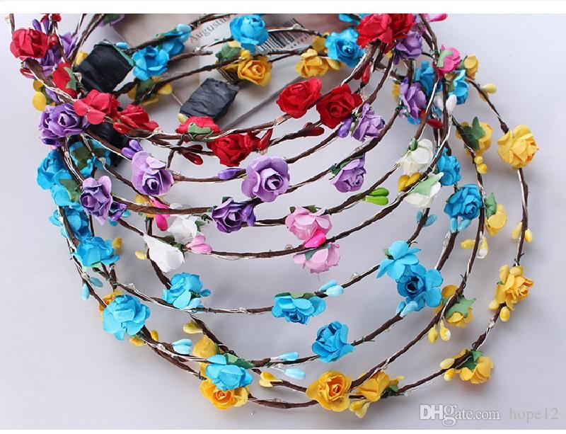 niños parpadeo del LED cadenas de juguetes partido de la luz de las vendas Corona Glow Rave flor floral guirnalda luminosa de pelo de la guirnalda de boda del florista