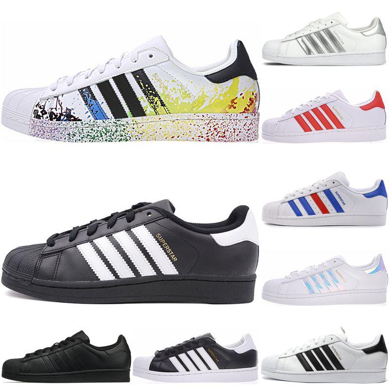 Adidas Superstar Hommes Femmes Superstar Chaussures Décontractées Nouveau Triple Blanc Noir Rose Bleu Or Superstars Fierté Baskets Super Star
