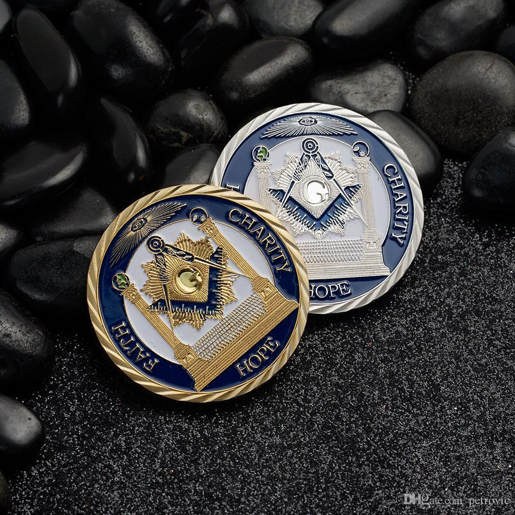 Free shipping Wholesale Mix 4pcs/lot FAITH, CHARITY & HOPE Masonic medals  coins, Freemasonry coins collectibles Proud Freemason coins
