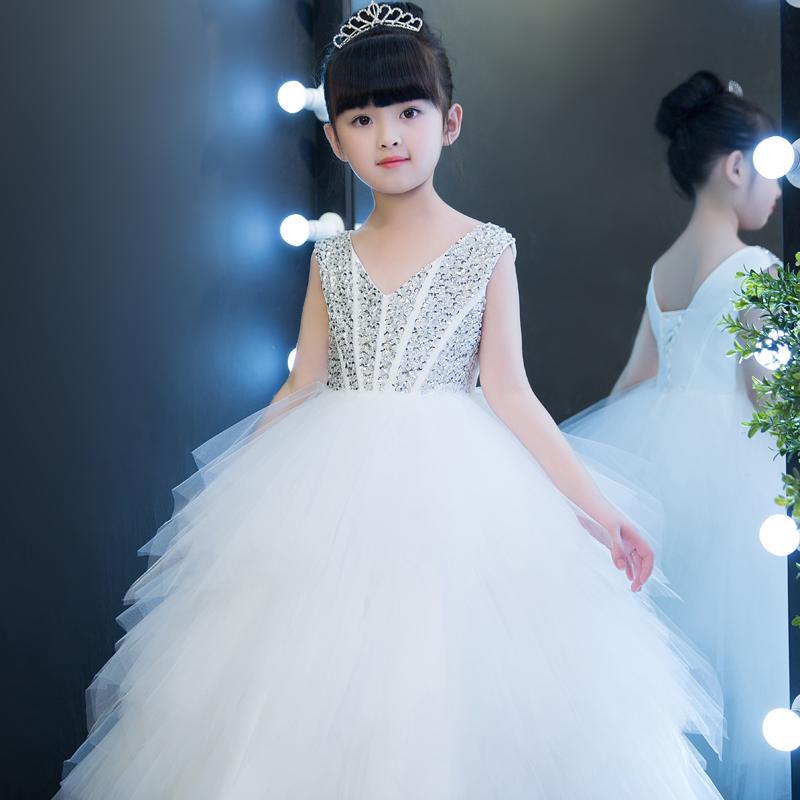 7c023b278c3 Children S Evening Dress 2018 New Princess Skirt Wedding Dress Girl Dress  Flower Tongqun Walk Show Hosting Piano Performance Clothes Flower Girl  Dresses ...