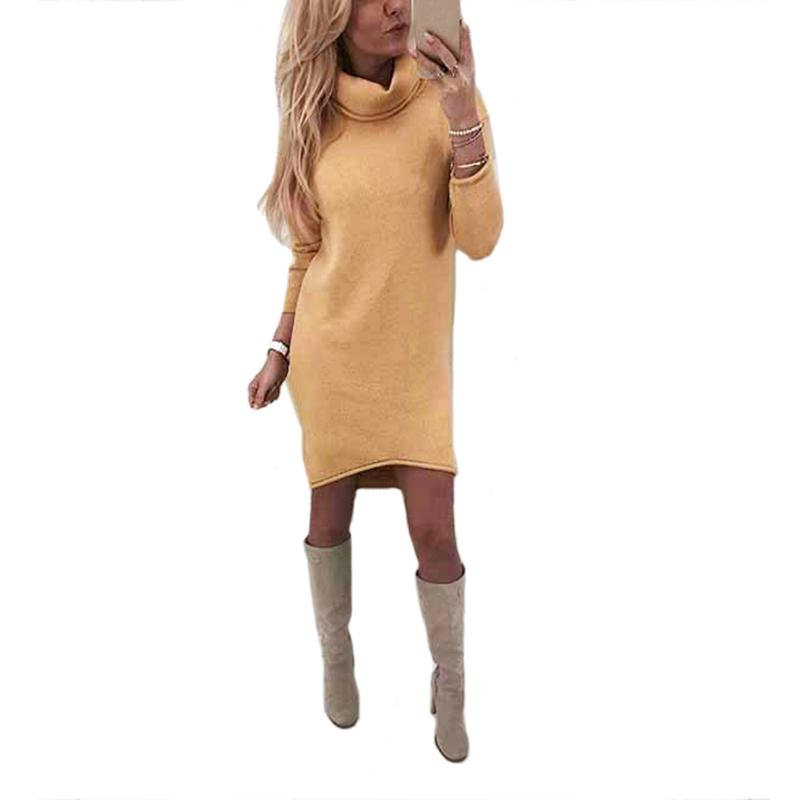Autumn Winter Turtleneck Long Sleeve Warm Sweater Knitted Dress Women  Casual Solid Loose Mini Dresses Vestido Gown Casual Dresses From  Fafachai04 3d4bd1581462