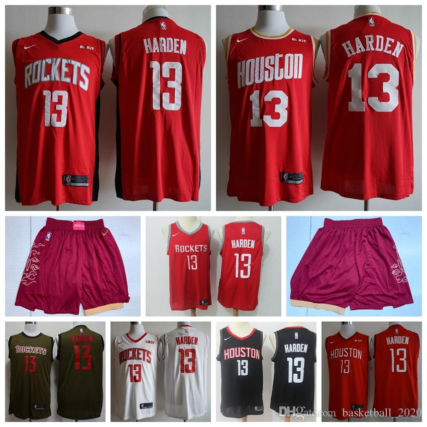 outlet store def8a 64367 New 2020 Edition Mens Rockets 13# James Harden Swingman Jersey Authentic  Embroidery Houston James Harden Rockets Basketball Jersey Shorts