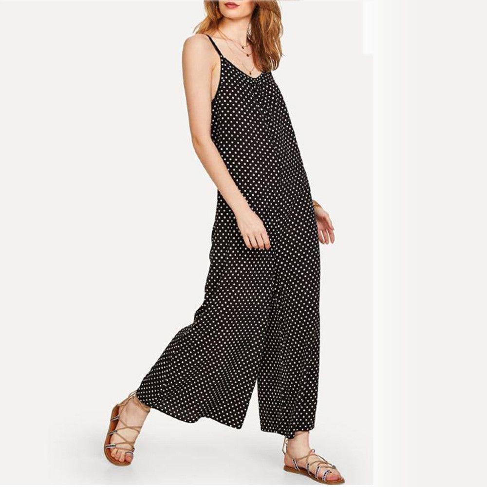 2c159bb546f3f 2019 New Fashion Style Women Striped Print Sleeveless Jumpsuit Casual  Clubwear Wide Leg Pants