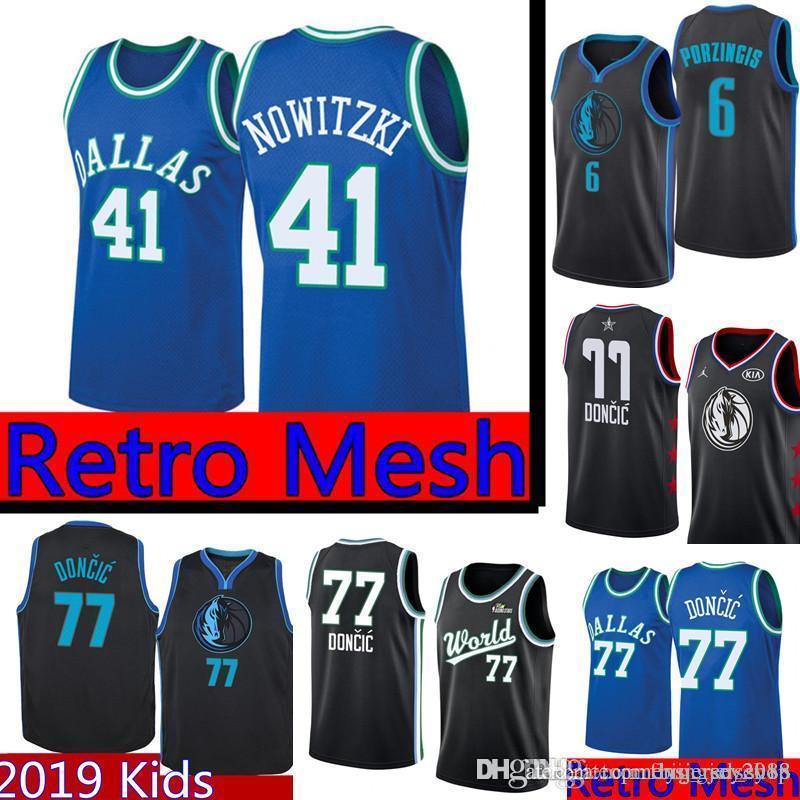 917fc9529 2019 Retro Mesh Dirk 41 Nowitzki Dallas Doncic Mavericks Jersey Mens ...