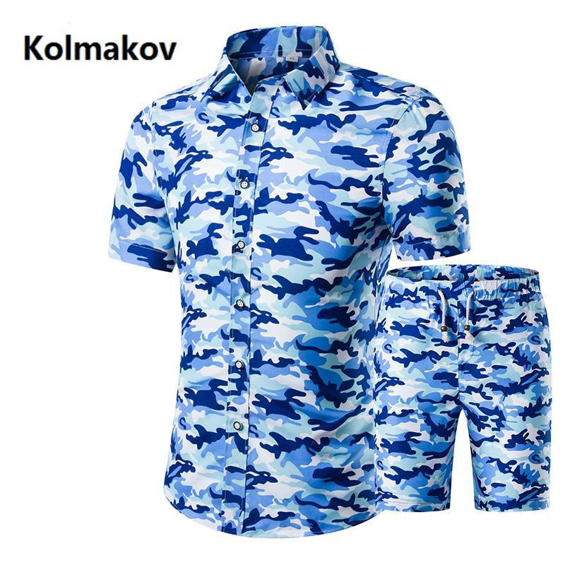(shirt + Shorts) 2019 Summer Mens Short Sleeve Beach Big Men Set Of Shirts And Shorts Cotton Plus Size M-4xl,5xl C19042101