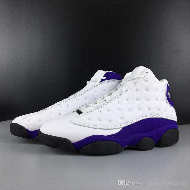 Hot Air Rivals Authentic 13 Lakers White Black Court Purple Retro 13s XIII Men Basketball Shoes Real Carbon Fiber Sports Sneakers With Box