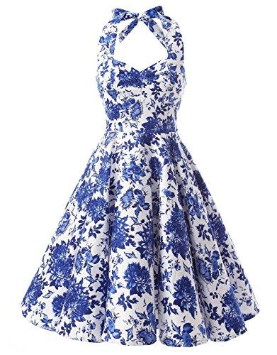 e0fa7d5d7d45 Ensnovo Womens Vintage 1950s Halter Floral Spring Garden Party ...