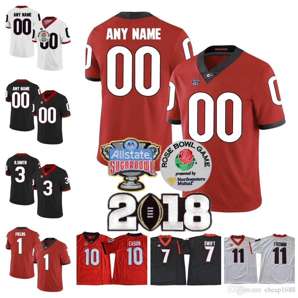 new concept 85c61 42dea Custom UGA Georgia Bulldogs College Football 2018 Rose Bowl Champions Sugar  Jersey Sony Michel Holyfield Hardman Blankenship Chubb Any Name
