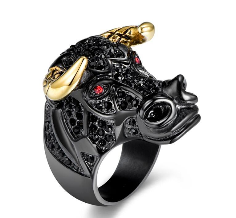 af45cd13e4ad7 Hip Hop Micro Pave Rhinestone Animal Bull Head Ring Black/Gold Color 316L  Stainless Steel Tau Rings Mens Rock Rapper Jewelry
