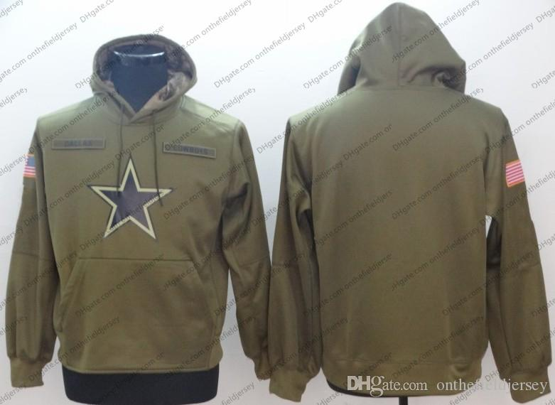45bad44e78e Men's Dallas Sweatshirt Cowboys Hoodie 2018 Olive Salute to Service  Sideline Therma Performance Pullover Hoodie S-3XL