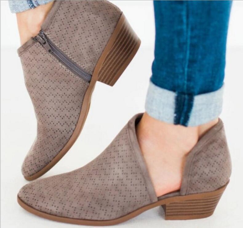 d22c0428e Compre Zapatos De Vestir Botines De Mujer Vintage Mujer Botines De Otoño  Tacones Bajos Gruesos Bombas Niña Sapato Feminino Zapatos De Mujer TA0175 A   21.24 ...